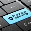 Privacy concept: Shield and National Security on computer keyboard background — Stock Photo