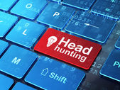 Business concept: Light Bulb and Head Hunting on computer keyboard background — Stock Photo
