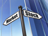 Business concept: sign Stock Market on Building background — Stock Photo