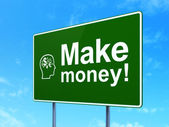 Finance concept: Make Money! and Head With Finance Symbol on road sign background — Stock Photo