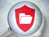 Business concept: Folder With Shield with optical glass on digital background — Stock Photo