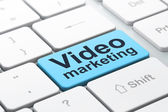 Business concept: Video Marketing on computer keyboard background — Stock Photo