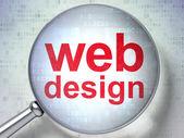 Conceito de desenvolvimento seo web: web design com vidro óptico — Fotografia Stock