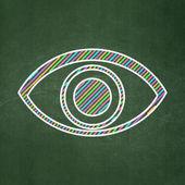 Sekretess koncept: öga på svarta tavlan bakgrund — Stockfoto