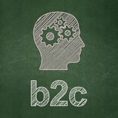 Business concept: Head With Gears and B2c on chalkboard background — Stock Photo