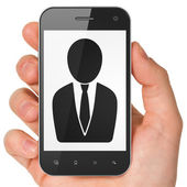 Law concept: Business Man on smartphone — Stock Photo