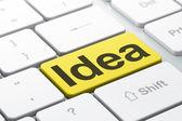 Marketing concept: Idea on computer keyboard background — Stock Photo