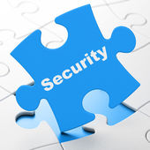 Safety concept: Security on puzzle background — Stock Photo