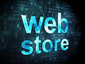 SEO web development concept: Web Store on digital background — Stock Photo