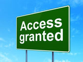 Protection concept: Access Granted on road sign background — Stock Photo