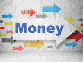 Business concept: arrow with Money on grunge wall background — Stock Photo