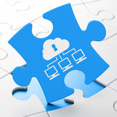 Cloud computing koncepce: mrak síť na pozadí puzzle — Stock fotografie