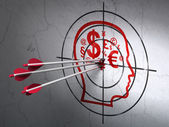 Education concept: arrows in Head With Finance Symbol target on wall background — Stock Photo