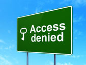 Privacy concept: Access Denied and Key on road sign background — Stockfoto