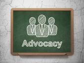 Conceito de lei: empresários e advocacia em fundo de quadro de giz — Fotografia Stock