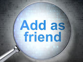 Social network concept: Add as Friend with optical glass — Foto Stock