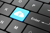 Cloud technology concept: Cloud With Key on computer keyboard background — Stock Photo