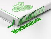 Concetto di marketing: libro calcolatrice, marketplace su sfondo bianco — Foto Stock