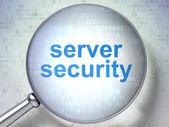 Concepto de protección: seguridad de servidor con vidrio óptico — Foto de Stock