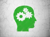 Education concept: Head With Gears on wall background — Stock Photo