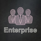 Business concept: Business People and Enterprise on chalkboard background — Stock Photo