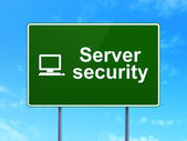Security concept: Server Security and Computer Pc on road sign background — Stock Photo