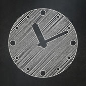 Time concept: Clock on chalkboard background — Foto Stock