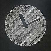 Time concept: Clock on chalkboard background — Stock fotografie