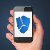 Security concept: Broken Shield on smartphone — Foto de Stock