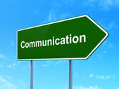 Advertising concept: Communication on road sign background — Stock Photo