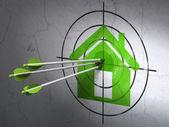 Conceito de privacidade: flechas no alvo em casa no fundo da parede — Foto Stock
