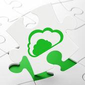 Cloud networking concept: Cloud on puzzle background — Stock fotografie