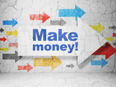 Business concept: arrow with Make Money! on grunge wall background — Stock Photo