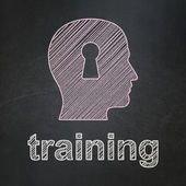 Education concept: Head With Keyhole and Training on chalkboard background — Stock Photo