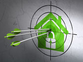 Security concept: arrows in Home target on wall background — Stock fotografie