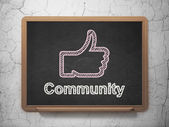 Social network concept: Thumb Up and Community on chalkboard background — Stock Photo