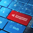 Stock Photo: Finance concept: Calculator and Procurement Management on computer keyboard background