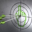 Web development concept: arrows in Mouse Cursor target on wall background — Stock Photo