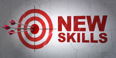 Education concept: target and New Skills on wall background — Stock Photo