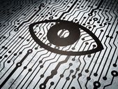 Protection concept: circuit board with Eye — Stock Photo