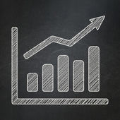 Advertising concept: Growth Graph on chalkboard background — Stock Photo