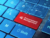 Finance concept: Calculator and Procurement Management on computer keyboard background — Stock Photo