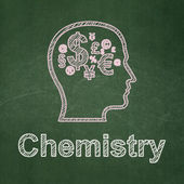 Education concept: Head With Finance Symbol and Chemistry on chalkboard background — Stock Photo