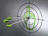 Web development concept: arrows in Mouse Cursor target on wall background — Stockfoto