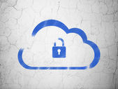 Cloud networking concept: Cloud With Padlock on wall background — Foto Stock