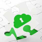Cloud technology concept: Cloud With Keyhole on puzzle background — Stock Photo