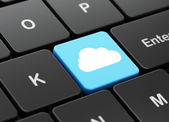Cloud networking concept: Cloud on computer keyboard background — Fotografia Stock