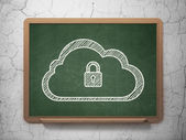 Cloud computing concept: Cloud With Padlock on chalkboard background — Stock fotografie
