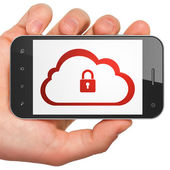 Cloud technology concept: Cloud With Padlock on smartphone — Stock fotografie