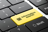 Information concept: Computer Pc and Information Search on computer keyboard background — Stock Photo